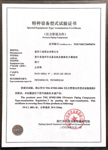 Certificate of Check Valve Special Equipment Type