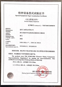 Certificate of Gate Valve Special Equipment Type